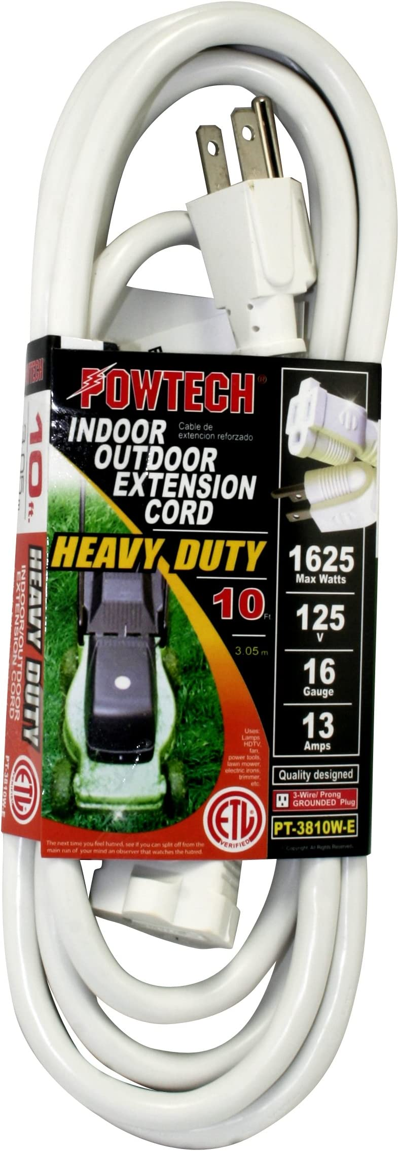 50FT 16 Gauge Power Extension Cord Cable Outdoor 3-Prong Grounded SJTW Green