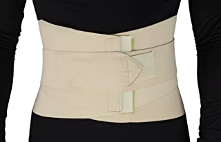 ObboMed® MB-2530L Back, Lumbar, Abdominal Support Wrap Brace Belt with 4 Metal Stays Splints, extra double side straps adjustable for Posture, Belly, Waist, Spine, Back Pain Relief (L: 37-41 inches)