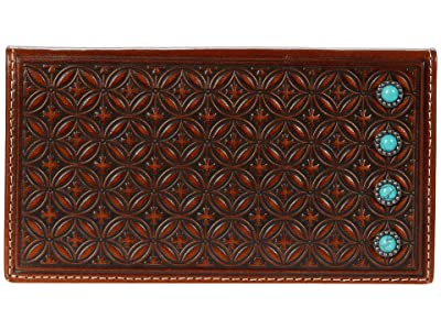 M&F Western Diamond Embossed Turquoise Stone Rodeo Wallet (Tan) Handbags
