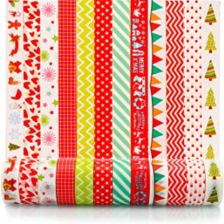 Konsait 12 Rolls Christmas Washi Tape,Merry Christmas Decorative Adhesive Tape Masking Tape for Scrapbook Bullet Journal Planner Arts Crafts Xmas Decorations Party Favors Supplies