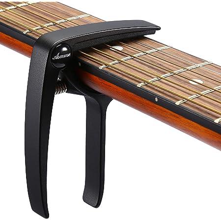 Asmuse Capodastre Guitare avec 3 Mediators Unique Utilisation à Une Main Changement Rapide en Alliage d'aluminium Noir Capos pour Ukulélé Guitare Acoustique Electrique Basse