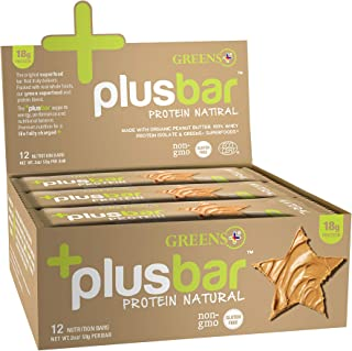 Greens+ Plusbar Protein Natural - Gluten Free, Whey Protein Bar with Organic Greens - 12 Bars