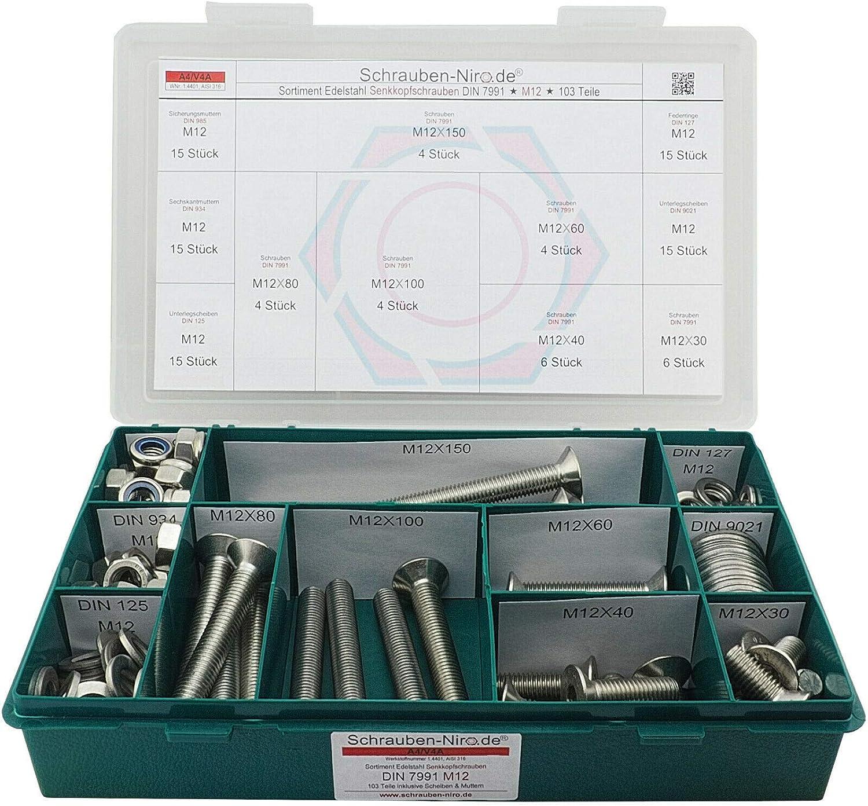 ISO 10642 // DIN 7991 Werkstoff A2 Senkschrauben mit Innensechskant und Vollgewinde 10 Senkkopfschrauben Edelstahl M6 x 14 mm VA // V2A