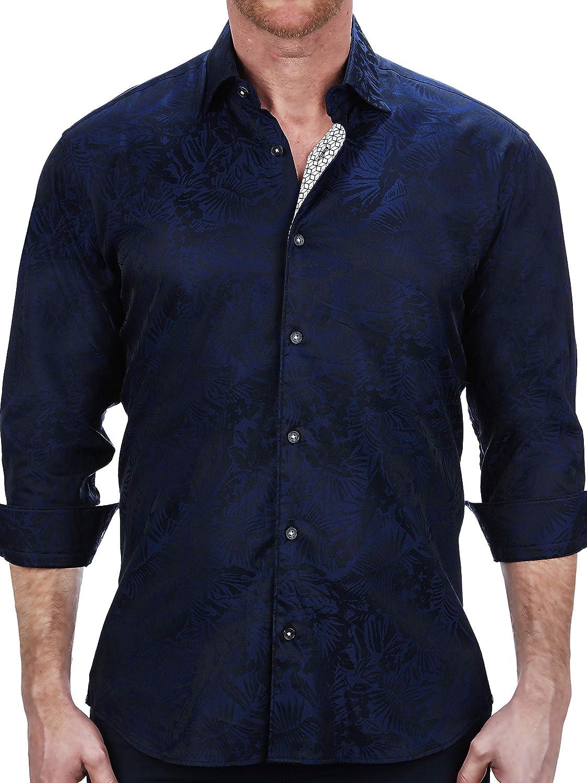 Maceoo Mens Designer Dress Shirt - Stylish & Trendy - Fibonacci Leaves Blue - Tailored Fit