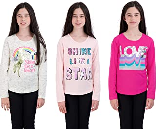 Star Ride Girls 3-Pack T-Shirt with Flip Sequins Long Sleeve Tops for Kids Multipack Girl Clothes and Tee Shirts