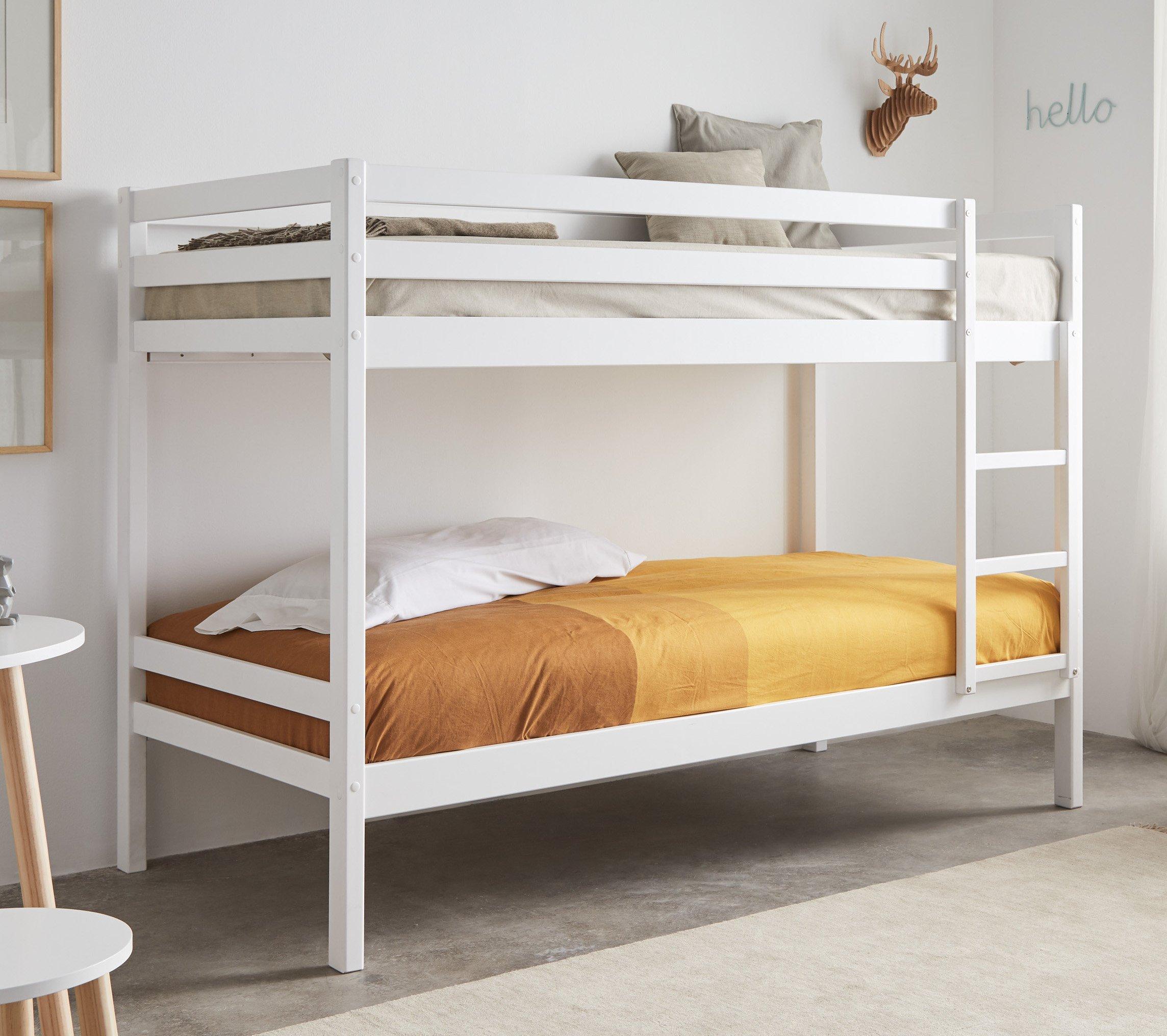 Miroytengo Litera Premier en Color Blanco Fabricada en Madera en Medida 90x190 cm con somieres incluidos barandilla Superior y escalerilla: Amazon.es: Hogar