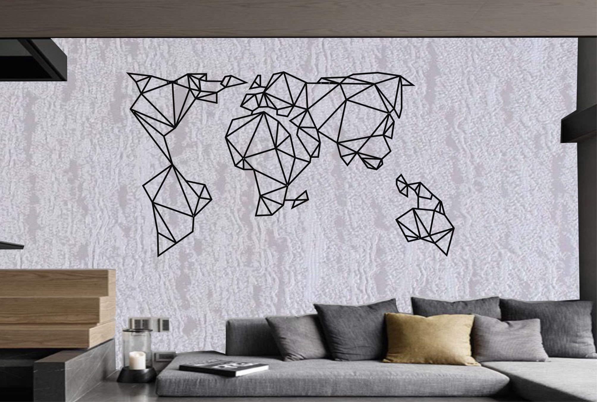 Metal World Map Wall Art Geometric World Map 3d Wall Silhouette Metal Wall Decor Office Decoration Bedroom Living Room Decor 76x43cm Amazon Co Uk Kitchen Home