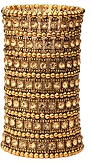 YACQ Women's Multilayer Big Stretch Cuff Bracelets Fit Wrist Size 7 to 7-4/5 Inch - Elastic Band & 7 Row Crystals Jewelry - 4-1/2 Inch Wide - Lead & Nickle Free
