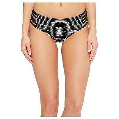 Jantzen Jacquard Pointelle Strappy Side Hipster Bikini Bottom (Black) Women