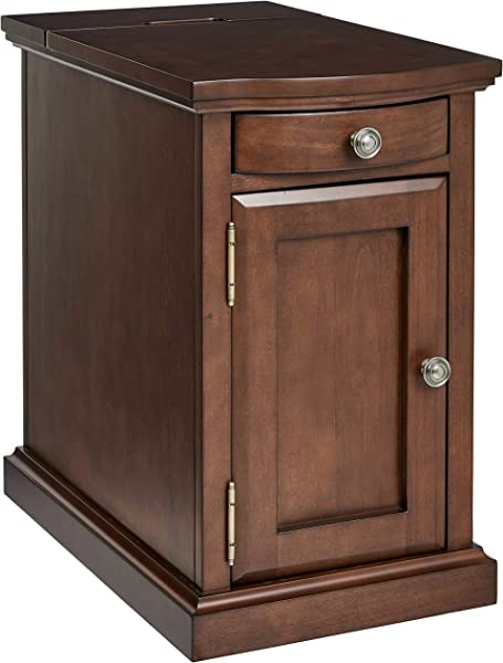 Ball Cast Harriet Wood End Table With Drawer Cabinet And Built In Power Strip Executive Brown