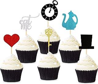 Keaziu 36 Pack Alice in Wonderland Cupcake Toppers Baby Shower Alice in Wonderland Wedding Dessert Decorations Baby Girls ...