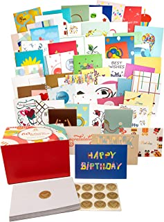 60 Original Unique Greeting Cards Assortment for All Occasions with 60 Mother of Pearl Color Envelopes & 60 Gold Heart Shaped Stickers in Magnetic Gift Box