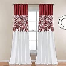 "Lush Decor Estate Garden Print Curtains Room Darkening Window Panel Set for Living, Dining, Bedroom (Pair), 84"" x 52"", Red"