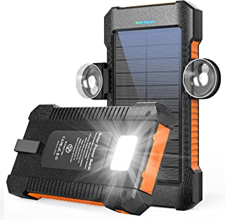 Solar Charger 26800mAh, Solar Power Bank Portable Battery Pack Dual USB Outputs, Phone Backup Charger IPX4 Waterproof with Camping Light, Solar Panel and Suction Cup Mount (Orange)