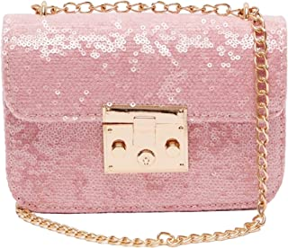 Shoexpress Embellished Crossbody Bag with Chain Strap and Lock Clasp Closure One Size Blue