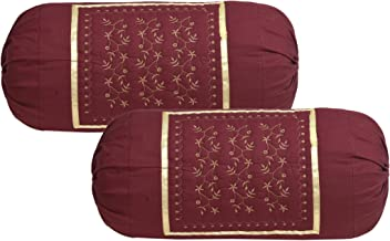 HSR Collection Embroidered Bolsters Cover(Pack of 2, Maroon)