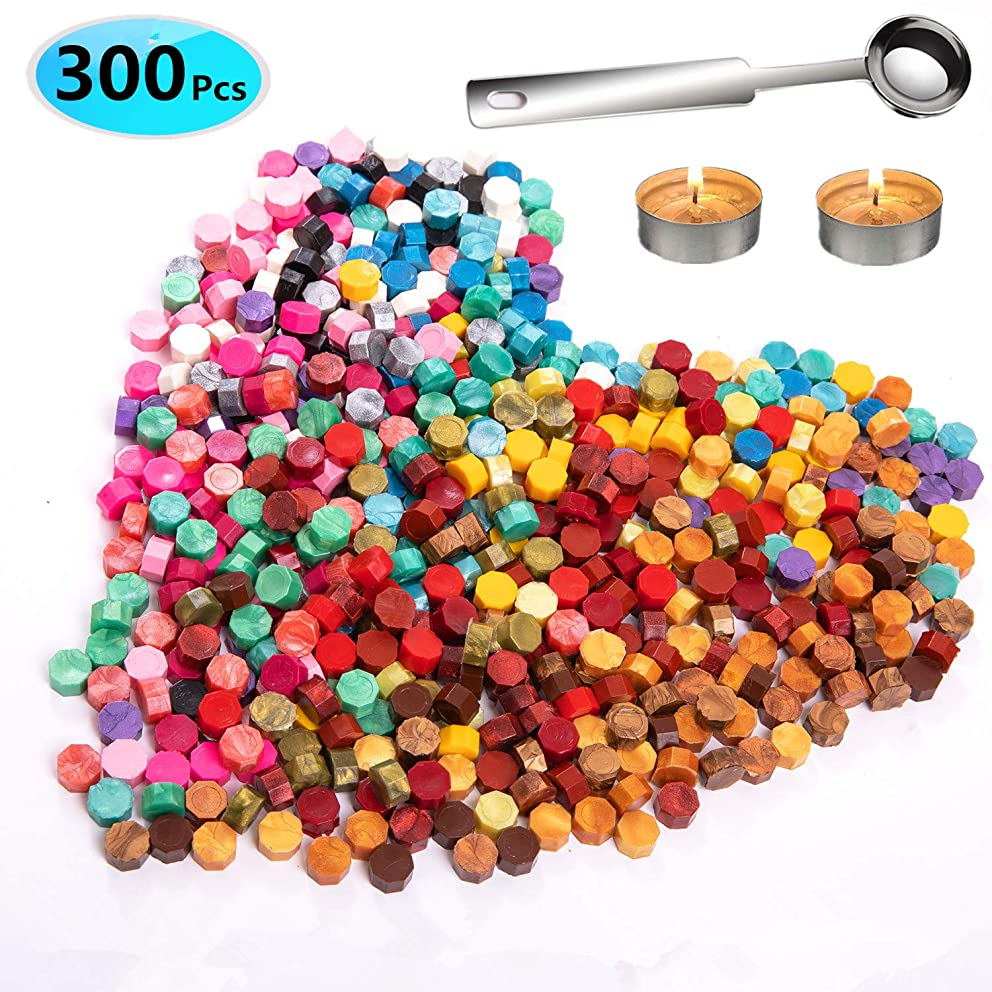 300 Pcs Octagon Sealing Wax Beads with 1 Pcs Wax Melting Spoon and 2 Pcs Tea Candles for Wax Sealing Stamp (20 Colors)