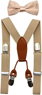 Toddler Kids 4 Clips Adjustable Suspenders and Matching Bow Tie Set
