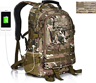 Military Tactical Hunting Backpack for Men, Outdoor Camo Hiking Rucksack, USB Charging Port