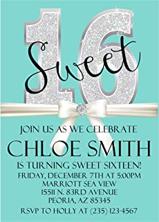 Tiffany & Co. Inspired Sweet 16 Birthday Party Invitations With Envelopes, Turquoise Sweet 16 Birthday Party Invitations