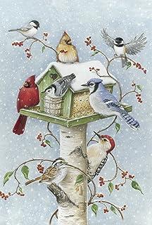 Best Toland Home Garden Winter Birds 28 x 40 Inch Decorative Snow Bird Cardinal Jay Birdhouse House Flag - 1010097 Review