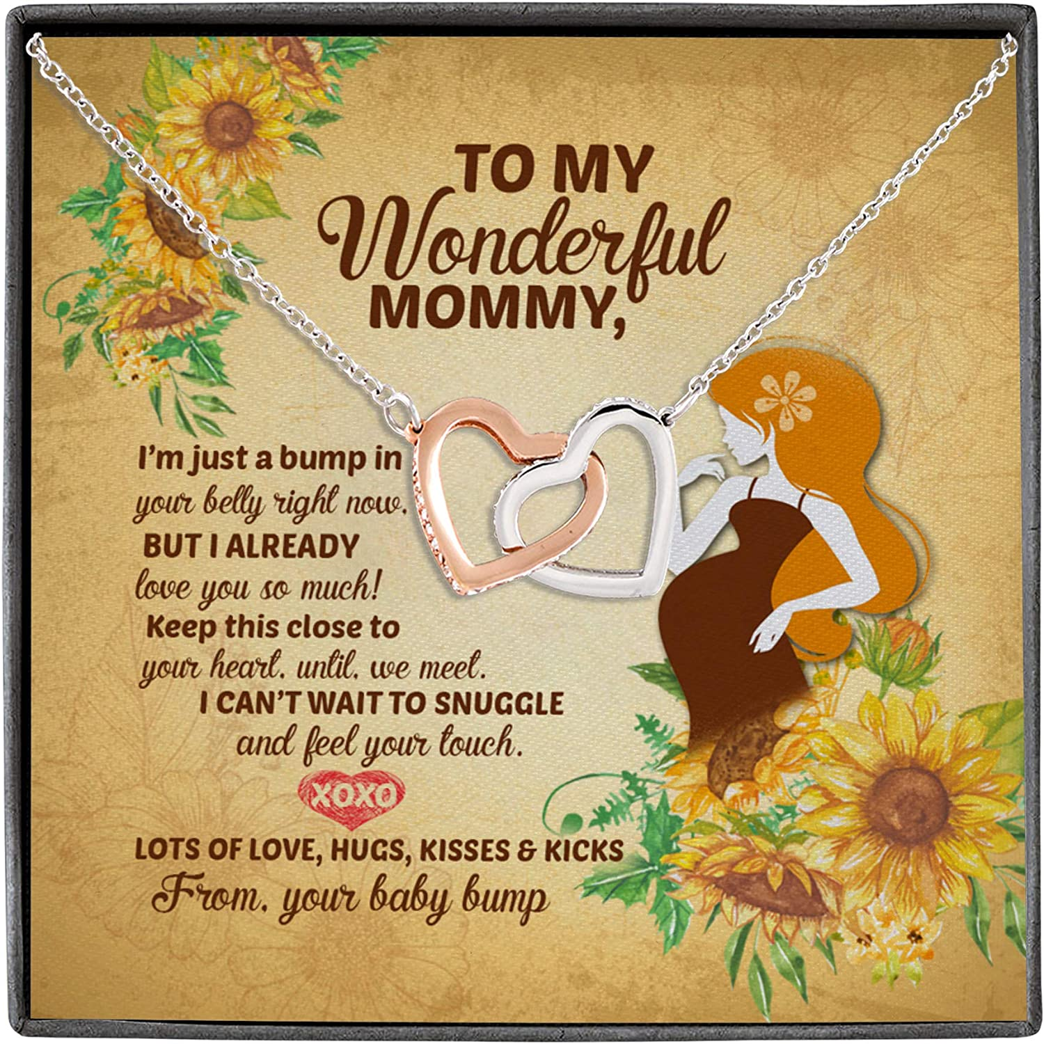 To My Wonderful Mommy Soon To Be Quotes From Your Baby Bump Newborn Interlocking Hearts Message Card Necklace