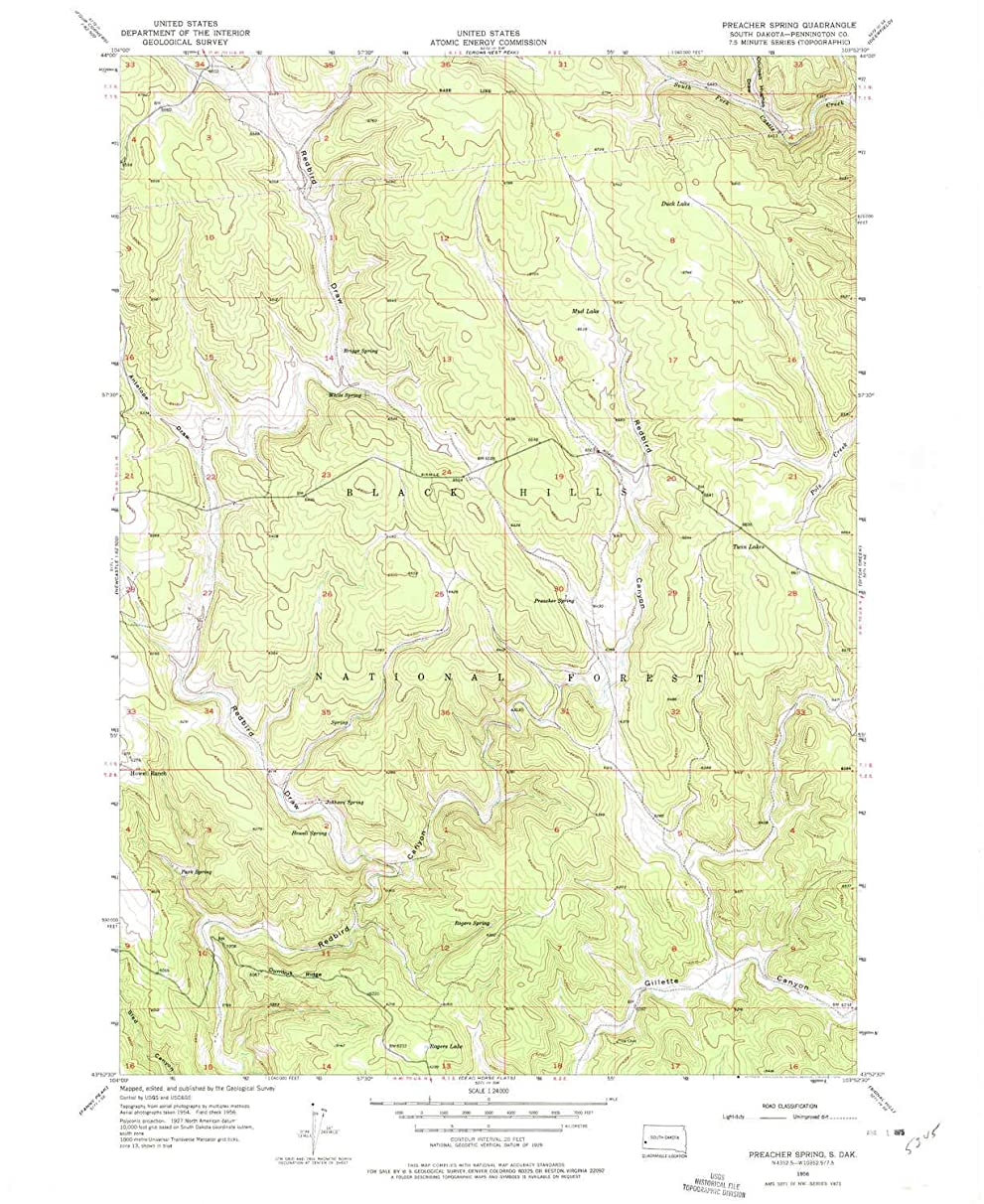 YellowMaps Preacher Spring SD topo map, 1:24000 Scale, 7.5 X 7.5 Minute, Historical, 1956, Updated 1975, 26.9 x 22 in