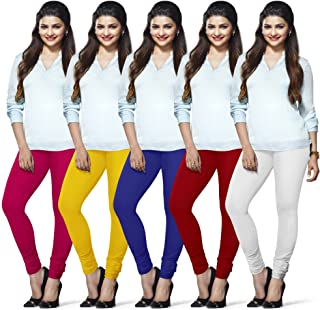 LUX LYRA Women's Cotton Leggings (Rani, Yellow, Royal Blue, Parry Red, Off White, Free Size) - Pack of 5