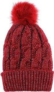 LINEMIN Women's Winter Super Soft Warm Knitted Headwear Beanie Hat Faux Fur Pom Pom