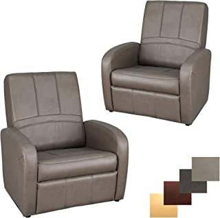 RecPro Charles RV Gaming Chair Ottoman Conversion | Built-in Storage | RV Furniture | Putty | 2 Pack