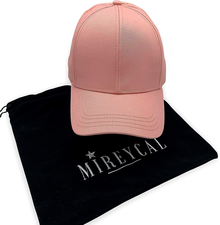Mireycal Womens Baseball Cap - Criss Cross Back for High Ponytail, Messy Bun - Dad Hat - Adjustable Free Premium Dustbag (Peachy Pink)