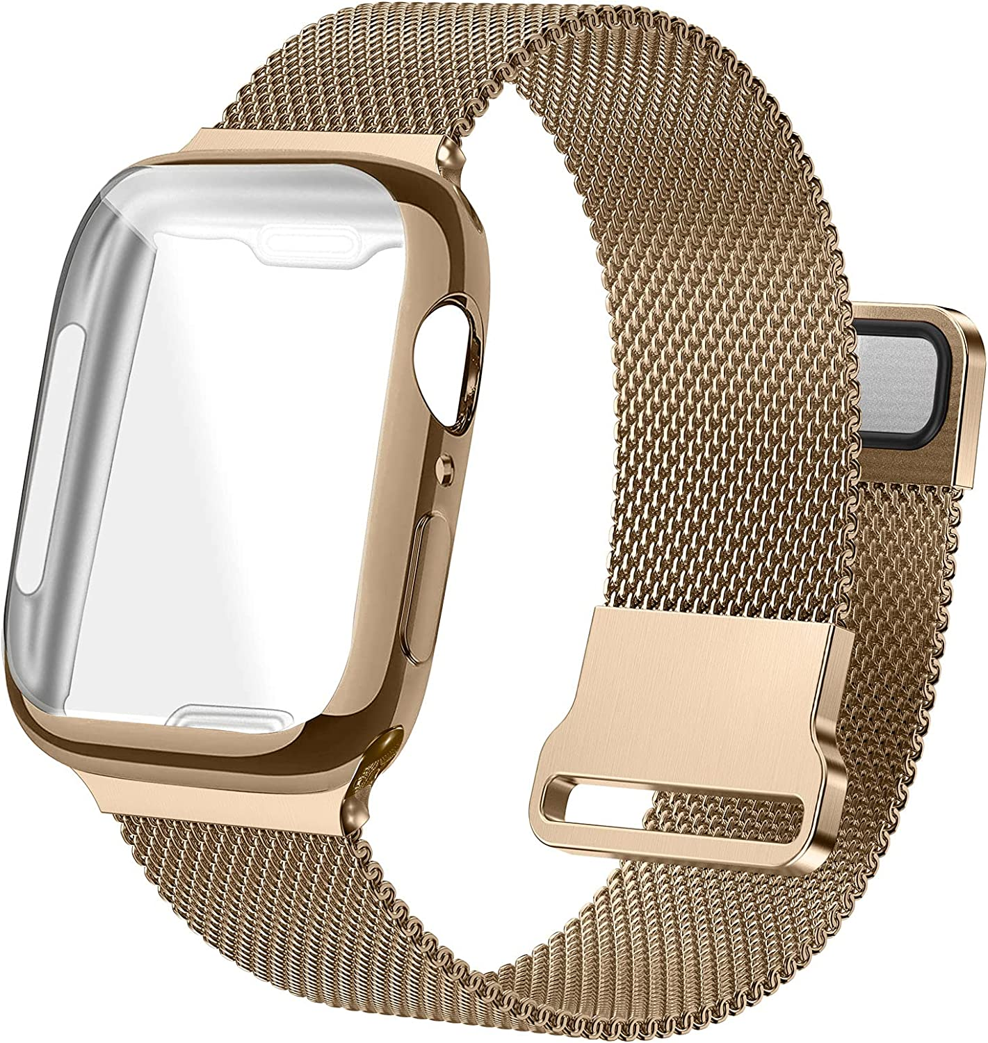 Bifeiyo Stainless Steel Band with Case Compatible with Apple Watch Bands 38mm for Women Men, Adjustable Magnetic Milanese Mesh Metal Strap for iWatch Series 6/5/4/3/2/1 SE [Vintage Gold]