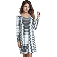 ACEVOG Sleeveless Stripe Patchwork Dress Classic Casual Swing A Line Dresses for Women