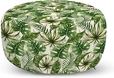 Ambesonne Leaves Ottoman Pouf, Monstera Leaf Illustration with Hawaiian Floral Elements in Nature Tones, Decorative Soft Foot Rest with Removable Cover Living Room and Bedroom, Green Cream Pale Green