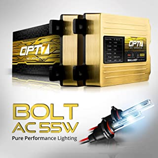 OPT7 Bolt AC 55w H11 H8 H9 HID Kit - 5x Brighter - 6x Longer Life - All Bulb Sizes and Colors - 2 Yr Warranty [8000K Ice Blue Xenon Light]
