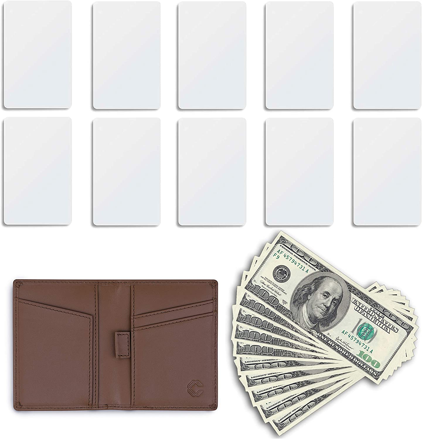 Compacked Slim Pocket Wallet for Men and Women – RFID Blocking Bifold Wallet – Top-Grain Leather Design – 3 x 4-inch Compact RFID Card Sleeve Wallet – Minimalist Design for 10 Cards and 10 Bills (Pecan)