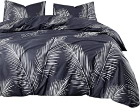 Wake In Cloud - Leaves Comforter Set, 100% Cotton Fabric with Soft Microfiber Fill Bedding, White Palm Tree Leaves Pattern Printed (3pcs, Queen Size)