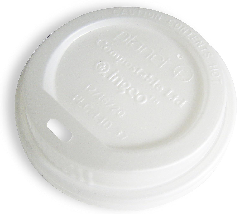 Planet+ 100% Compostable PLA Hot Cup Lid, Fits 12/16/20oz Single