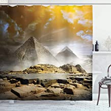 Ambesonne Egyptian Shower Curtain, Storm Clouds Over Pyramids Photo of Culture Eastern Art, Cloth Fabric Bathroom Decor Set with Hooks, 84 Long Extra, Orange Cream