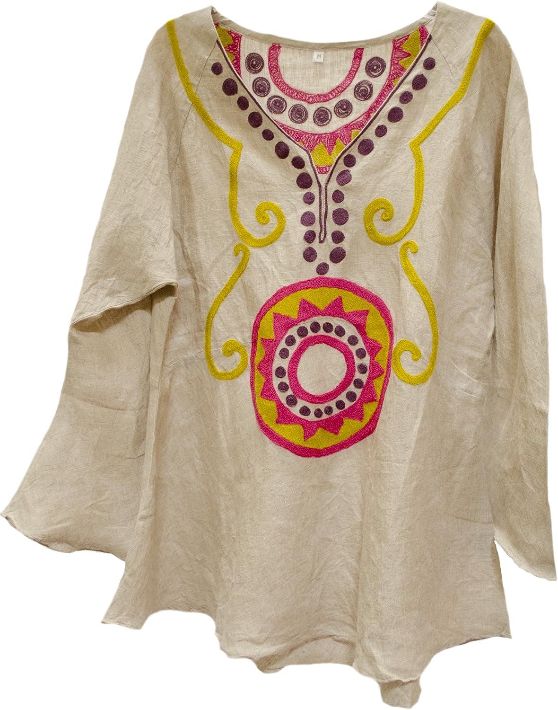 Nadia Suzani Embroidered Linen Tunic Top Shirt Natural Fuchsia Citron M L