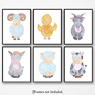 Baby Farm Cow, Chick, Goat, Lamb, Donkey, Ram Poster Prints, Set of 6 (8x10) Unframed Pictures, Great Wall Art Decor Under 20 for Home, Office, Studio, Nursery, Student, Teacher, Earth & Animals Fan