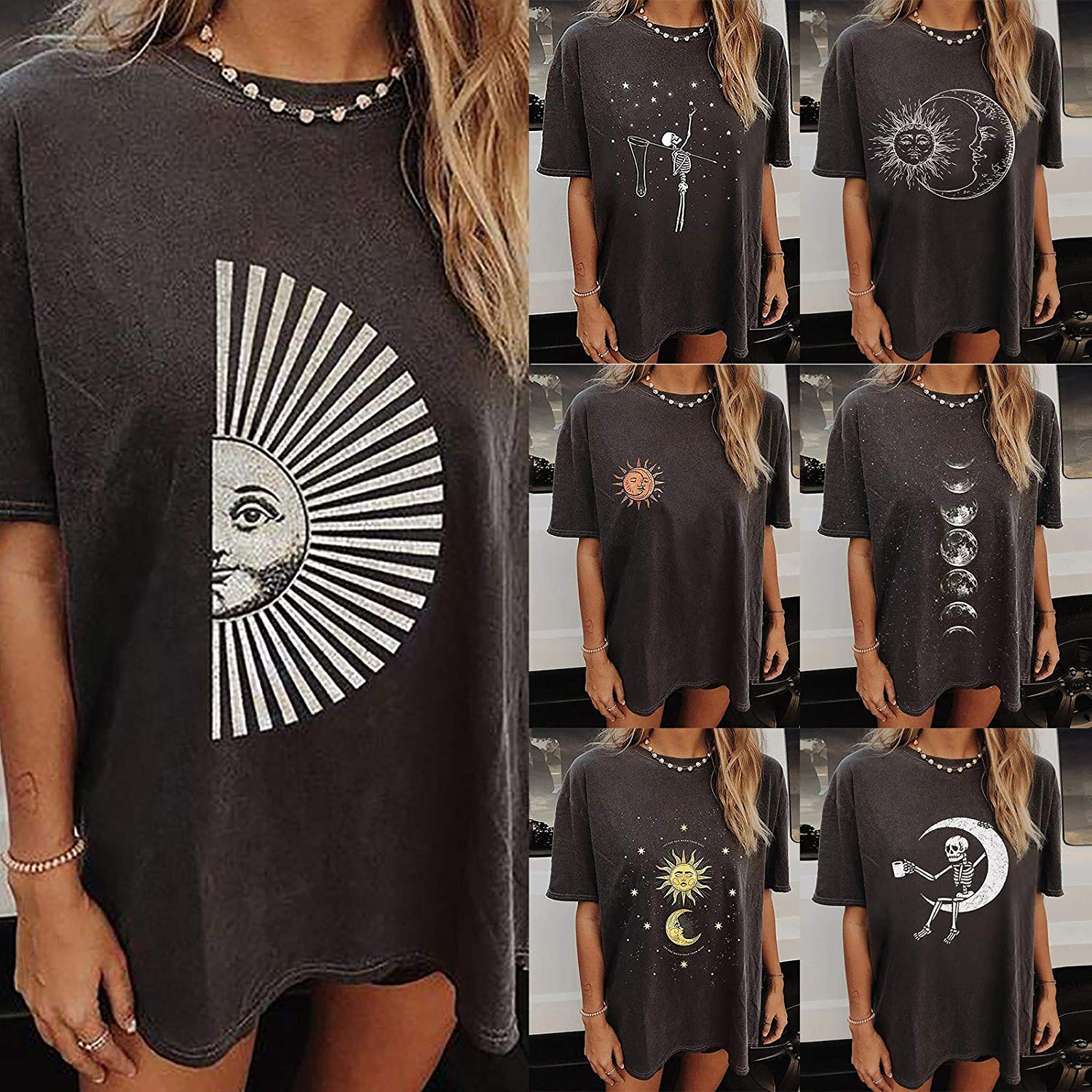 Women Short Sleeve Tunic Tops Plus Size Vintage Sun Moon Print Graphic Tee Shirt Baggy Casual Crewneck Pullover Tops