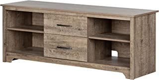 South Shore Fusion TV Stand with Drawers, Weathered Oak,