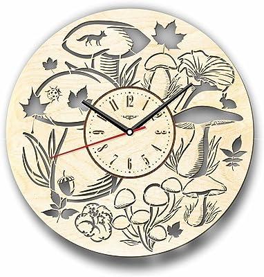 Mushrooms きのこ木製掛け時計ー完璧で美しく作られたー現代アートで自宅を飾ろうー彼と彼女にユニークなギフトーサイズ12インチ(30 ㎝)