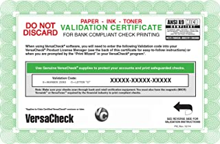 versacheck validation code