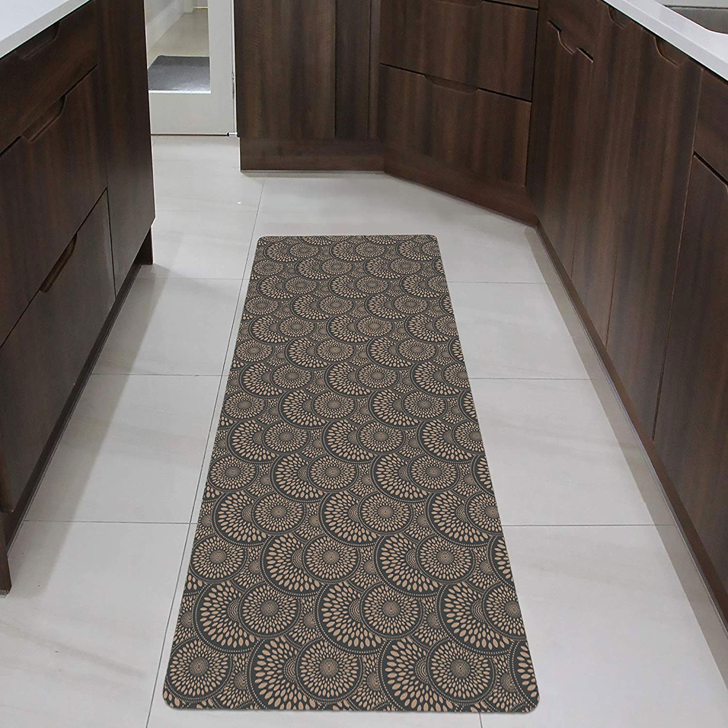 """Shape28 Runner Mat Ultra-Thin Kitchen Rug with Non Slip Rubber Backing 60x23"""", Cappuccino: Kitchen & Dining"""