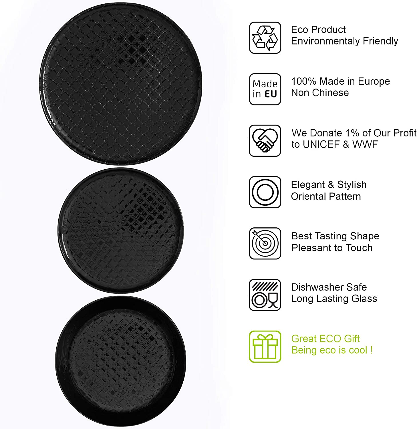 100/% Recyclable Great Gift Idea Eco Friendly Product Set of 3 for 1 Person Hand Made BeEco Morocco Plates Black Side Plate Dinner Plate Soup Bowl