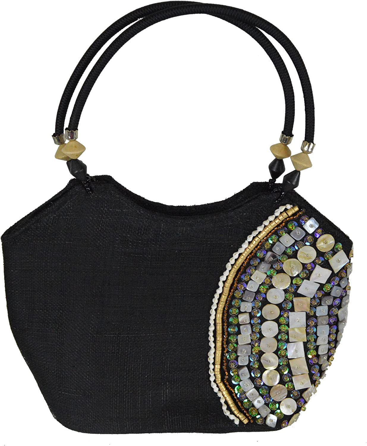 12 L Belize Black Medium ToteStyle Handbag with Seashell and Bead Inlay and Double Fabric Handles
