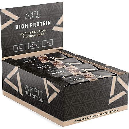 Marchio Amazon - Amfit Nutrition Barretta proteica a basso contenuto di zuccheri (19,6gr proteine - 1,4gr zucchero) - Cookies & Cream - Confezione da 12 (12x60g)