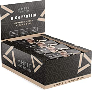 Marca Amazon- Amfit Nutrition Barrita de proteínas sabor a Cookies & Cream, pack de 12 (12x60g)